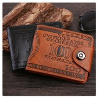 Leather PU Wallet Bag For Men Dollar Price Pattern Short Money Clip Coin Pocket Buckle Magnetic Holder Card Purse Men's Wallets