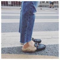Women Fur Slippers Plush Home Slipper Slip On Mule Women Flat Casual Shoes British black Buckle Loafer Women Outdoor