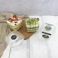 Gift Wrap 50sets Square Plastic Cupcake Mousse Packing Cake Box Disposable Transparent Dessert PET Cup Favors Boxes Supplies 400ML