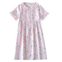 Women's Sleepwear Women Summer Short Sleeve Pure Cotton Gauze Cute Nightdress Thin Home Dress Mid-length Loose Plus Size Japanese Lace Edge