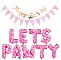 Pet Dog Cat Cumpleaños Foil Gatoon Gatos Globos Feliz-Cumpleaños Banner Sombrero Cumpleaños Conjunto Decoraciones para Party GWA7941