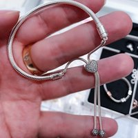925 Sterling Silver Snake Cham Bracelets For Women DIY Fit Pandora Charms Heart Shape CZ Diamond Lady Gift With Original Box Top Quality Luxury Jewerly