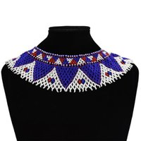Jewelry Sets Vintage Turk Resin Bead Tassel Statement Choker Bib Necklace Set Zulu South African India Egyptian Tribal Ethnic Collar