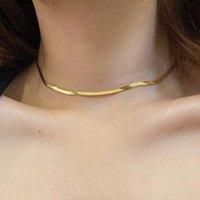 Cadena de serpiente suave Clavícula de clavícula para mujer elegante personalidad fresca oro collar de color plata niñas joyería de moda cadenas de regalo