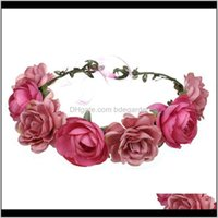 Decorative Flowers Wreaths Festive Supplies Home & Garden Drop Delivery 2021 Rose Flower Headband Band Floral Head Wreath Headpiece Girls Hai