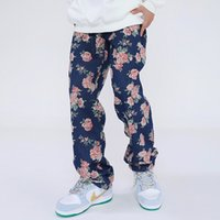 Full Print Ripped Jeans Men Women Loose Denim Trousers Straight Jean Pants