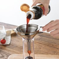 Functional Stainless Steel Kitchen Oil Honey Funnel with Detachable Strainer/Filter for Perfume Liquid Water Tools FWD10149