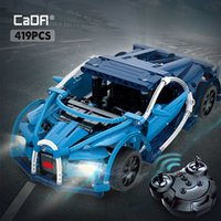 Cada 419PCS RC Blue Sports Racing Cars DIY Model Building Blocks For City high-tech Remote Control Vehicle Toys for Kid 210416
