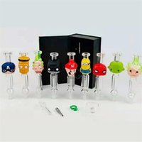 Cartoon NC Nector Collector Kits 10mm 14mm Joint Mini Small Nector Collectors With Titanium Nail Glass Tip Dish Plastic Clip