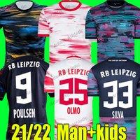 RBL Andre Silva Jerseys 2021 Poulsen Sabitzer Forsberg Camisas de futebol Konate Upamecano Olmo Szoboszlai Jersey Hee Chan Angelino Kluivert Man Kit 21/22