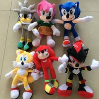 28cm 도착 Sonic 플러시 장난감 고슴도치 꼬리 네클 클로스 Echidna 인형 박제 동물 장난감 크리스마스 선물