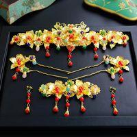 Saç Klipler Barrettes Çin Düğün Gelin Headdress Kostüm Cheongsam Suit Coronet Aksesuarları