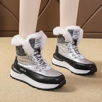 Boots Lucyever Thicken Plush Warm Woman Snow Women Waterproof Pu Leather Platform Winter Shoes Non Slip Patchwork Booties Female