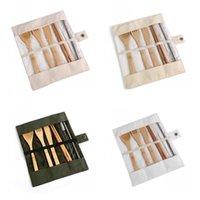 Louça de madeira ajustado bambu colher de chá de garfo sopa faca cutlery cutlery sets com pano saco cozinha cozinha ferramentas utensílio 1433 v2