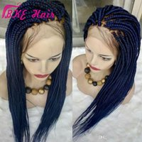 Hotselling Crochet Box Braids wig Long blue Braid wig full lace front jumbo braids wig synthetic Hair for African Braids