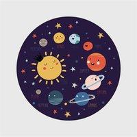 Cartoon Kinder Runde Teppich Raum Planet Raumschiff Tapete Wohnzimmer Rutschfeste Bodenmatte Schlafzimmer Kinderspiel Spiel Zelt Area Teppiche 734 R2