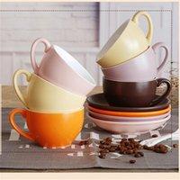Mugs 220ml Creative European Ceramic Coffee Cup Saucer Set Latte Cappuccino Matte Mug Home Cafe Teacup Coffeeware