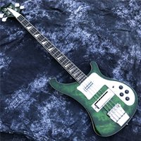 Transparent Green 4-String 4003 Bass Guitare Personnalisé 4 Strings Chinois Made Basse Guitare avec des inlays d'épingle de requin