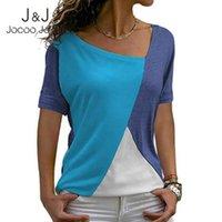 Jocoo Jolee 2021 Женщины Летнее Летнее Пэчворк Нерегулярный Многоцветный Повседневный Базовый Нормкор Т-Рубашки с коротким рукавом Slim V-образным вырезом Топы женской футболки