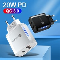 PD 20W USB C Charger EU US Plug QC 3.0 2 Port LED Fast Charge Wall Adapter For Iphone 11 12 13 Samsung Huawei
