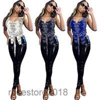 Damenmode-Designer 2021 Sommer Neuer Gerade Hip-Hyp-Cashew-Blumen-Reihe von Westen Sexy Kleidung Street Dancewear-Nachtclub-Outfit