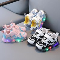 Children's Casual Sneakers Kids Shoes Baby Girls Led Light Luminous Anti-slip Running Sports Breathable Mesh Athletic & Outdoor