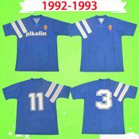 Retro Real Zaragoza Fussball Jersey 1992 1993 Brehme # 3 de Jogo Raríssima Vintage Camiseta de Futbol 92 93 Blue Classic Football Hemd Uniform Spanien