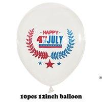 Decorazione del giorno dell'indipendenza Balloons 10pcs / lot Priorità bassa del partito Combinazione combinata Palloncino di sequesting Forniture di festa di nozze 12 pollici DHE5716