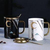 Mugs European Style Ceramic Marble Coffee Mug With Lid And Spoon Set Porcelain Breakfast Milk Cup Large Capacity Teacup Wedding Gift