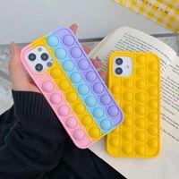 Rainbow Pop Fidget Toys Case Декомпрессия Телефон Чехлы для iPhone 12 Mini Pro 11 XR XS MAX X 10 8 7 PLUS Push Силиконовый мобильный телефон Назад Кожная Кожа Мобильная крышка