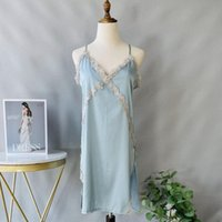 Women's Sleepwear Sexy Lace Strap Top Women Nightgown Summer Rayon Nightdress Split Fork Sleepshirt Skirt Bride Underwear M-XL Home Dressing