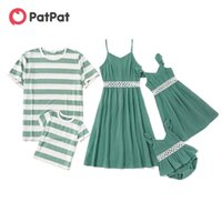 PatPat Arrival Summer Mosaic Family Matching Cotton Hollow Out Lace Flutter-Sleeve Tank Dresses Stripe T-shirts 210903