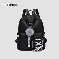 Toposhine Chain Women backpack Ribbons Ladies School Bag 5 Color Girls Straps Small Shoulder Female Travel Soft Backpacks 211025