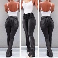 Ripped Aesthetic High Waist Solid Jeans Women 2021 Autumn Streetwear Fashion Skinny Pockets Female Trousers Women's