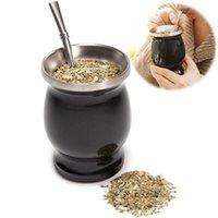 Tassen Yerba Mate Natural Gourd / Tee Becher Becher Tea, isolierte Tasse, Edelstahl, doppelt ummantelt, mit Löffel Stroh Bombillas, einfach sauber