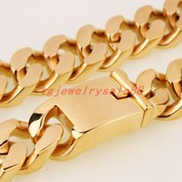 "21mm Wide Heavy Gold Color Casting Curb Cuban Link Chain Bracelet Or Necklace Strong Men's Stainless Steel Jewelry 8-36"" Option Chains"