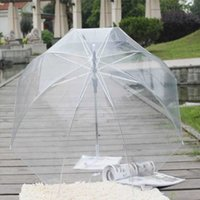 Semi-automático fêmea transparente de longa mão moda claro bolha abóbada forma guarda-chuva exterior à prova de vento Princesa decoração