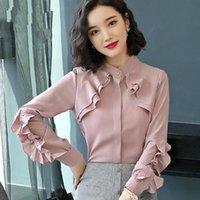 Elegantes tops de otoño Mujeres de manga larga con volantes Blusa de rufe Work Wear Office Shirts Plus Size Chifson Blusas Mujer Moda Moda Blusas de las mujeres