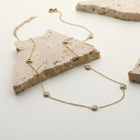 Pendant Necklaces Design 14K Gold Plated Stainless Steel Jewelry Accessories CZ Stone Gemstone Choker Necklace
