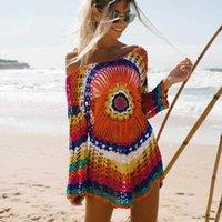 Damenbadbekleidung Beachsissi Bunte Gestrickte Bindel Bikini Frauen Badeanzug Lace-up Kimono 2021 Strandkleid Badeanzug Beachwear Tunika Rob