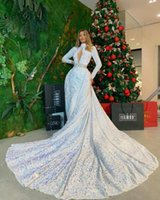 Stunning Sequins Mermaid Women Evening Dresses With Overskirt Train Long Sleeves Plus Size Robe De Soiree Formal Prom Pageant Gowns 2021