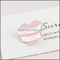 Pins, Brooches Jewelrydont Be A Dick Pins Enamel Heart Broches Mes Reminder Ribbon Lapel Badge Denim Jackets Pin Brooch For Jeans Coat 118 U