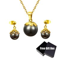 Earrings & Necklace Stainless Steel Elegant And Fashionable Black White Pearl Crystal Pendant Earring Set Wedding Jewelry