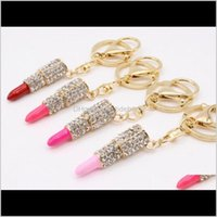 Keychains Fashion Drop Delivery 2021 Charm Crystal Keychain Lipstick Key Holder Rhinestone Keyring Red Rose Pendant Car Ornament Aessories Wo