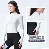 Autumn and winter 2021 new semi zipper stand collar short coat women's long sleeve yoga tight running top fitness clothes women
