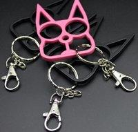 새로운 고양이 키 체인 링 버클 sefl-defense 무기 장난감 모델 야외 반지 4 개의 손가락 도구 패션 크리스마스 선물 자기 방어 키 wjl2832