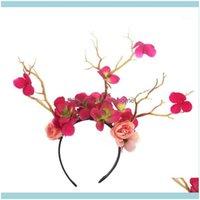 Natal festivo fornece casa gardenchristmas decorações mulheres meninas headband flor borboleta decoração faixa de cabelo árvore de árvore cervo um