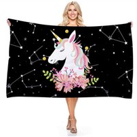 Rectangle Unicorn Towels Mircorfiber Beach Blanket Towel Summer Outdoor Swimming Camping Surf Sports Yoga Mat Towel