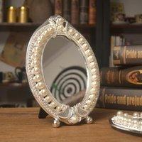 Espelhos pérolas de prata pérolas de metal mesa espelho europeu ouro antique bronze de cobre oval Único liga de liga