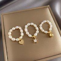 Anello di perle d'acqua dolce naturale Donne S Modo Personalizzato Nicha Design Coreano Affordabile Affordabile Fashion Fashi di lusso Indice del vento freddo